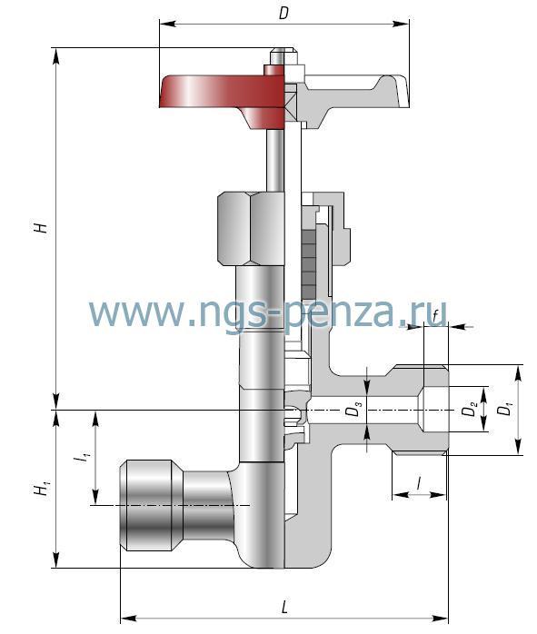 Пример: Клапан запорный проходной DN10 PN 2,5 МПа ХЛ1 из стали 20ХНЗА с цапковым присоединением, с ручным управлением...