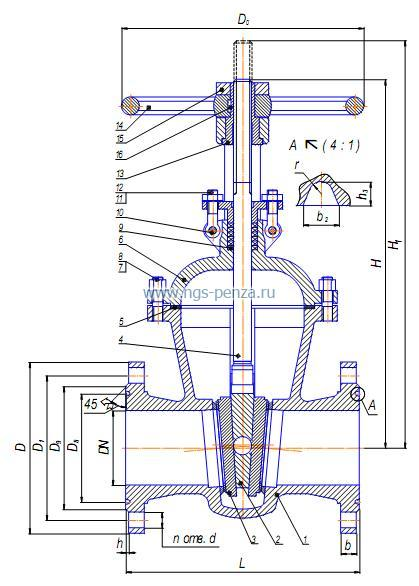 Схема задвижки 30с76нж