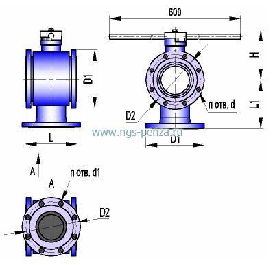 Кран трехходовой КШТХ 25-200нж