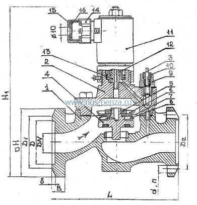 Клапан запорный электро магнитный 15кч835р.